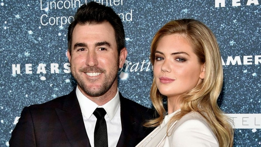 NEW YORK, NY - NOVEMBER 13: Professional baseball player Justin Verlander and model Kate Upton attends 2014 Women's Leadership Award Honoring Stella McCartney at Alice Tully Hall at Lincoln Center on November 13, 2014 in New York City. (Photo by Theo Wargo/WireImage)