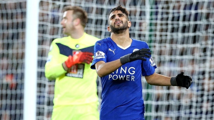 LEICESTER, ENGLAND - JANUARY 02 : Riyad Mahrez of Leicester shows his frustration during the Barclays Premier League match between Leicester City and Bournemouth at the King Power Stadium on January 2, 2016 in Leicester, United Kingdom. (Photo by Plumb Images/Leicester City FC via Getty Images)