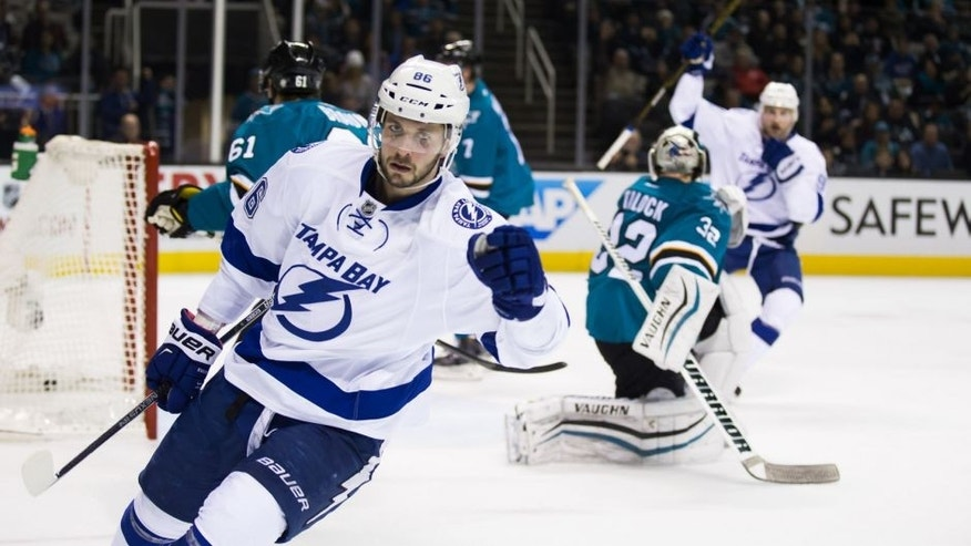Dec 5, 2015; San Jose, CA, USA; Tampa Bay Lightning right wing Nikita Kucherov (86) celebrates after a goal against the San Jose Sharks during the second period at SAP Center at San Jose. Mandatory Credit: Kelley L Cox-USA TODAY Sports