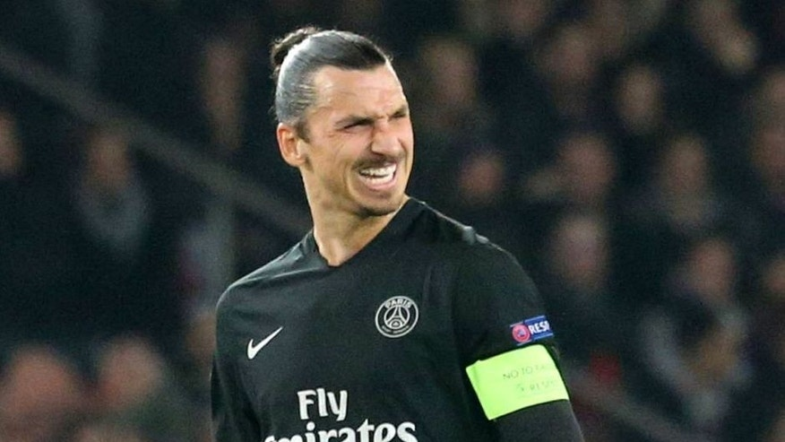 PARIS, FRANCE - DECEMBER 08: Zlatan Ibrahimovic of Paris Saint-Germain reacts during the UEFA Champions League between Paris Saint-Germain and Shakhtar Donetsk at Parc Des Princes on december 8, 2015 in Paris, France. (Photo by Xavier Laine/Getty Images)