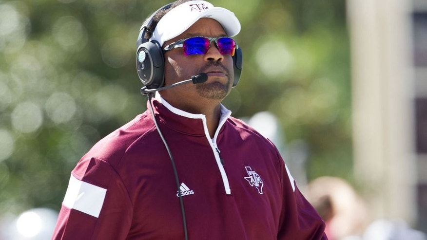 Oct 4, 2014; Starkville, MS, USA; Texas A&M Aggies head coach Kevin Sumlin during the game against the Mississippi State Bulldogs at Davis Wade Stadium. Mandatory Credit: Marvin Gentry-USA TODAY Sports