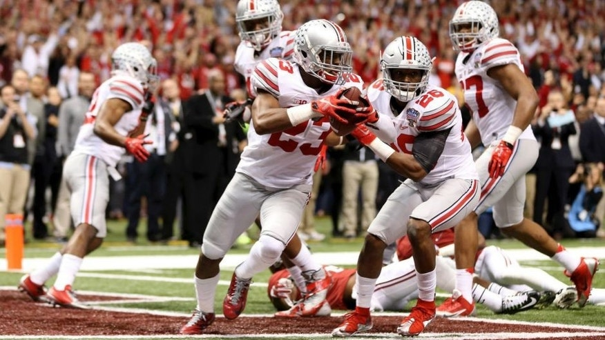 <p>Ohio State Buckeyes safety Tyvis Powell (23) returns the interception of a Hail Mary pass against the Alabama Crimson Tide in the fourth quarter of the 2015 Sugar Bowl at Mercedes-Benz Superdome. Ohio State Buckeyes beat the against the Alabama Crimson Tide, 42-35.</p>