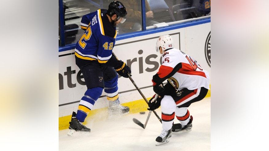 St. Louis Blues' David Backes (42) battles for the puck with Ottawa Senators' Chris Wideman (45) during the first period of an NHL hockey game, Monday, Jan. 4, 2016, in St. Louis. (AP Photo/Bill Boyce)