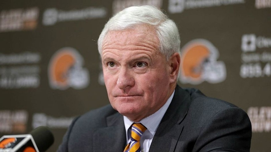 <p>Cleveland Browns owner Jimmy Haslam answers questions from the media at the Browns' training facility Monday, Dec. 30, 2013, in Berea, Ohio. Head coach Rob Chudzinski was fired Sunday.  </p>