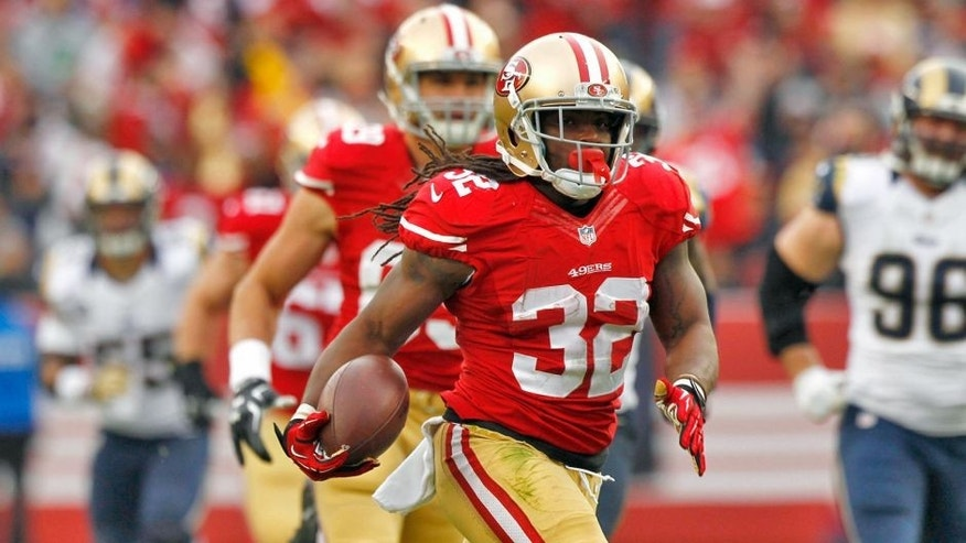 Jan 3, 2016; Santa Clara, CA, USA; San Francisco 49ers running back DuJuan Harris (32) carries the ball against the St. Louis Rams in the second quarter at Levi's Stadium. Mandatory Credit: Cary Edmondson-USA TODAY Sports