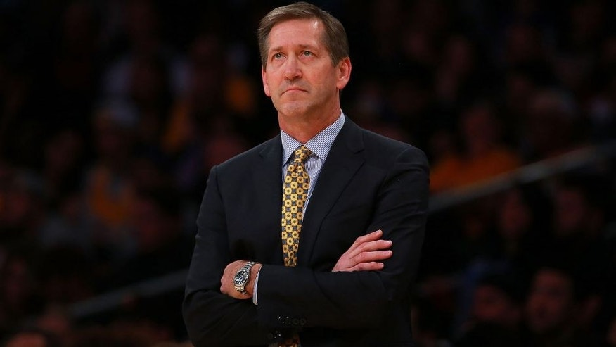 <p>LOS ANGELES, CA - JANUARY 03: Head Coach Jeff Hornacek of the Phoenix Suns looks up at the scoreboard during the first half of the NBA game between and the Phoenix Suns and the Los Angeles Lakers at Staples Center on January 3, 2016 in Los Angeles, California. NOTE TO USER: User expressly acknowledges and agrees that, by downloading and or using this photograph, User is consenting to the terms and conditions of the Getty Images License Agreement. (Photo by Victor Decolongon/Getty Images)</p>