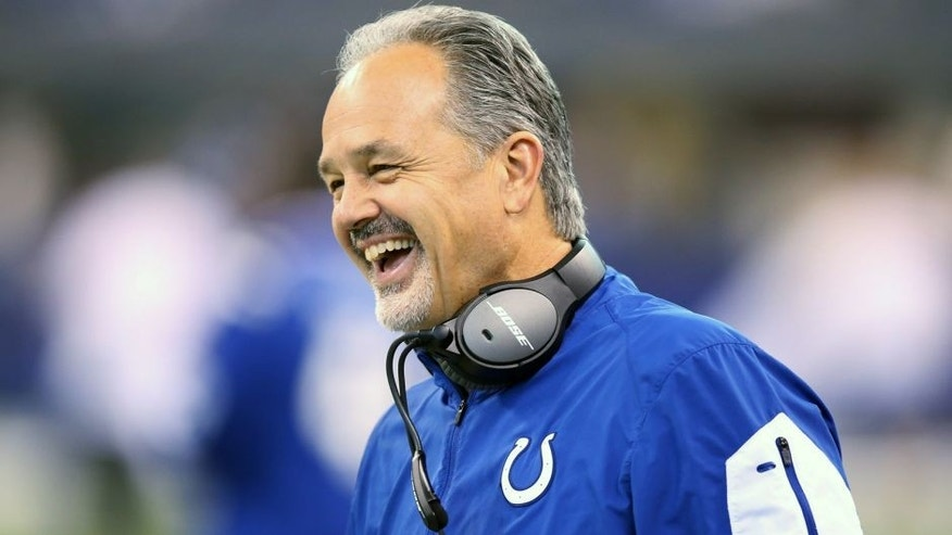INDIANAPOLIS, IN - JANUARY 03: Head coach Chuck Pagano of the Indianapolis Colts laughs during the game against the Tennessee Titans at Lucas Oil Stadium on January 3, 2016 in Indianapolis, Indiana. (Photo by Andy Lyons/Getty Images)