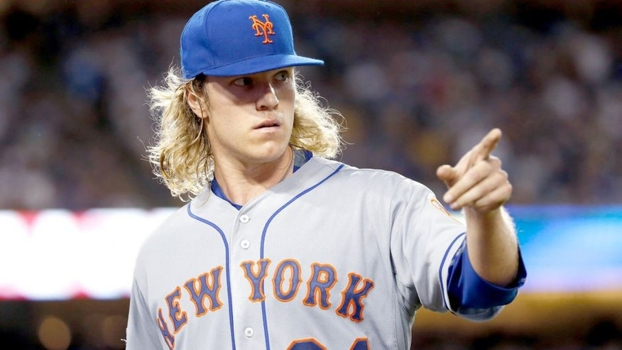 LOS ANGELES, CA - OCTOBER 10: Noah Syndergaard #34 of the New York Mets reacts after recording the final out of the second inning against the Los Angeles Dodgers in game two of the National League Division Series at Dodger Stadium on October 10, 2015 in Los Angeles, California. (Photo by Sean M. Haffey/Getty Images)
