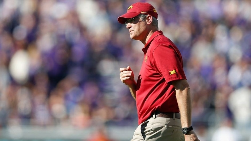 FORT WORTH, TX - DECEMBER 06: Head coach Paul Rhoads of the Iowa State Cyclones during the Big 12 college football game against the TCU Horned Frogs at Amon G. Carter Stadium on December 6, 2014 in Fort Worth, Texas. The Horned Frongs defeated the Cyclones 55-3. (Photo by Christian Petersen/Getty Images)