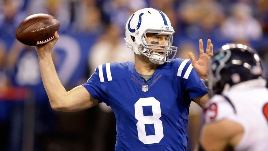 Indianapolis Colts quarterback Matt Hasselbeck (8) prepares to throw during the second half of an NFL football game against the Houston Texans, Sunday, Dec. 20, 2015, in Indianapolis. (AP Photo/Michael Conroy)
