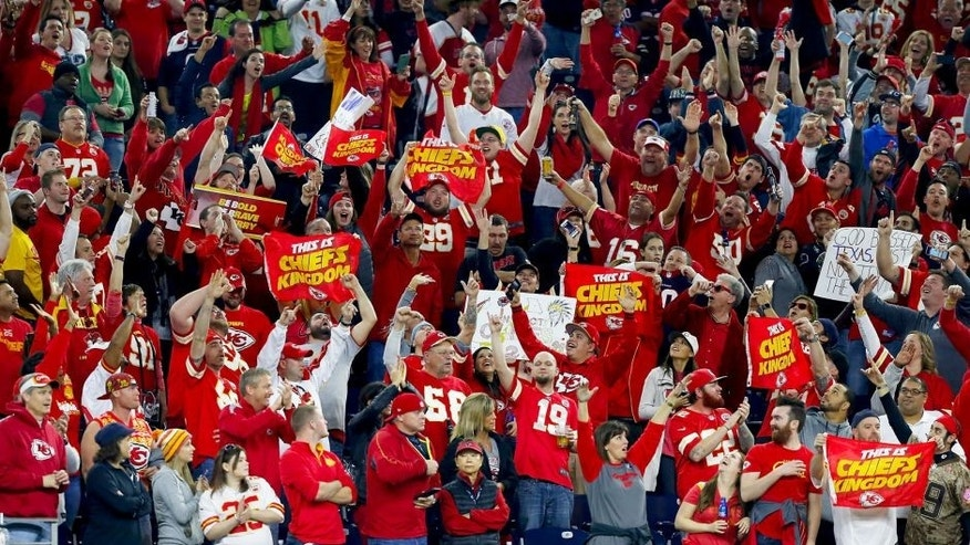 HOUSTON, TX - JANUARY 09: Fans of the Kansas City Chiefs celebrate their 30-0 win over the Houston Texans during the AFC Wild Card Playoff game at NRG Stadium on January 9, 2016 in Houston, Texas. (Photo by Bob Levey/Getty Images)