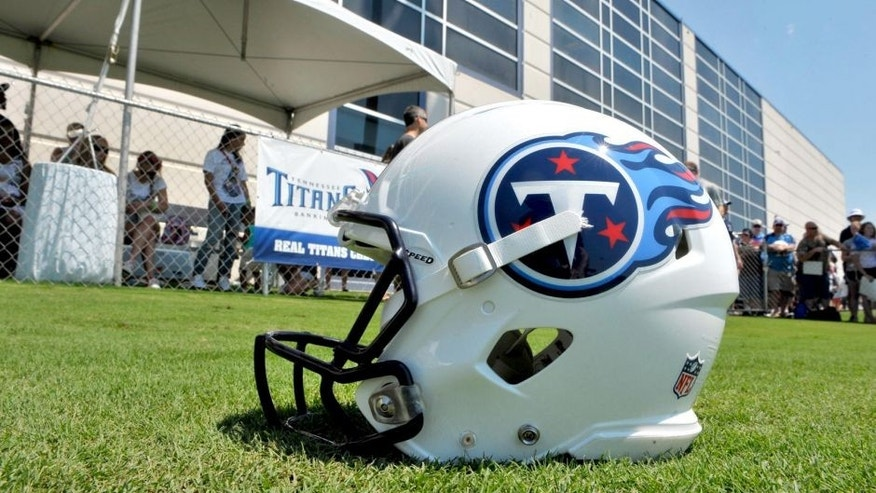 Jul 26, 2014; Nashville, TN, USA; General view of a Tennessee Titans helmet during training camp at Saint Thomas Sports Park. Mandatory Credit: Jim Brown-USA TODAY Sports