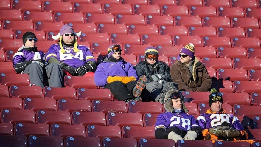 Jan 10, 2016; Minneapolis, MN, USA; Minnesota Vikings fans stay seated in the stands after a NFC Wild Card playoff football game against the Seattle Seahawks at TCF Bank Stadium. Mandatory Credit: Brace Hemmelgarn-USA TODAY Sports