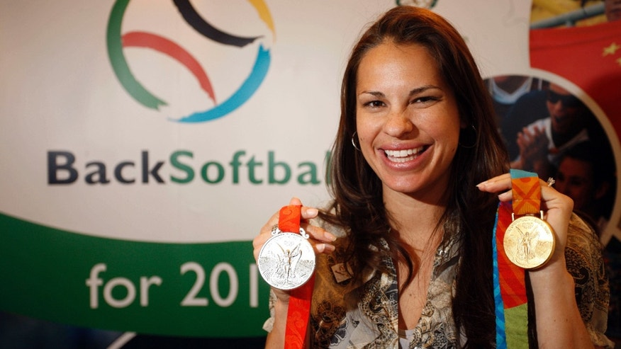 FILE - This March 25, 2009 file photo shows Olympic softball medalist Jessica Mendoza, of the United States, smiling during the 2009 SportAccord gathering in Denver.