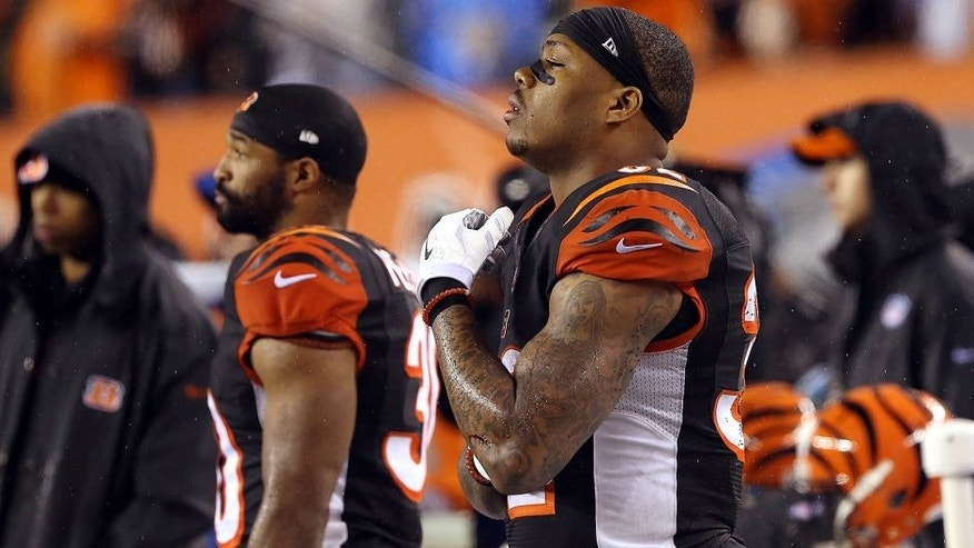 Jan 9, 2016; Cincinnati, OH, USA; Cincinnati Bengals running back Jeremy Hill (32) reacts on the sideline during the fourth quarter against the Pittsburgh Steelers in the AFC Wild Card playoff football game at Paul Brown Stadium. Mandatory Credit: Aaron Doster-USA TODAY Sports