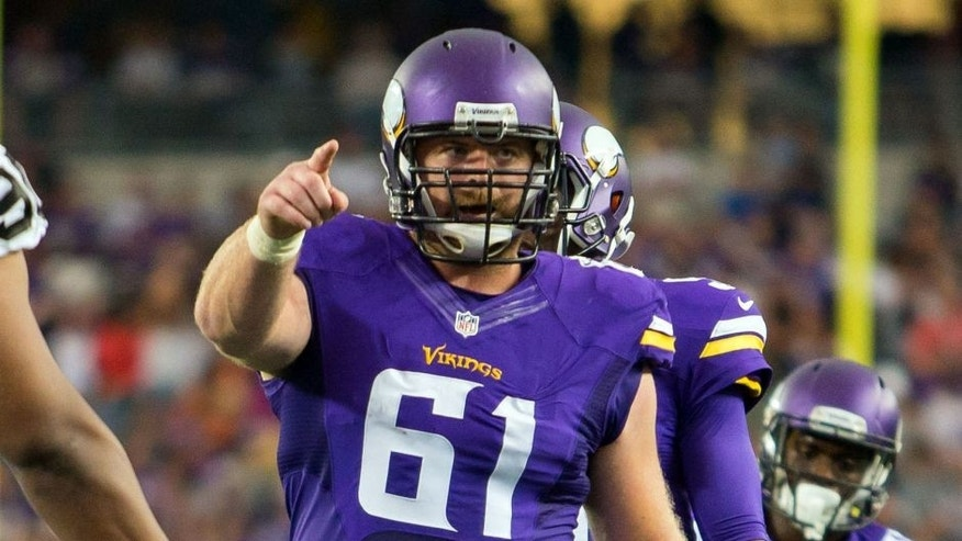 Aug 22, 2015; Minneapolis, MN, USA; Minnesota Vikings offensive lineman Joe Berger (61) in the second quarter against the Oakland Raiders at TCF Bank Stadium. Mandatory Credit: Brad Rempel-USA TODAY Sports
