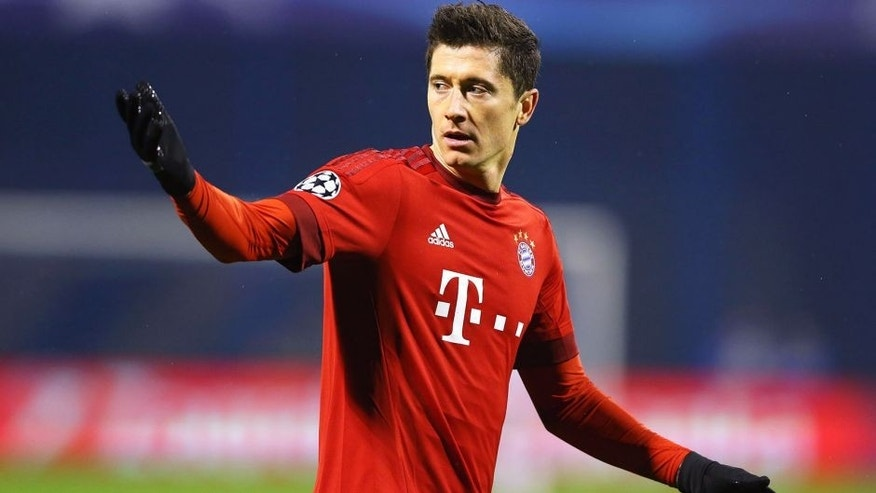 ZAGREB, CROATIA - DECEMBER 09: Robert Lewandowski of Bayern Munich gestures during the UEFA Champions League Group F match between GNK Dinamo Zagreb and FC Bayern Munchen at Maksimir Stadium on December 9, 2015 in Zagreb, Croatia. (Photo by Alexander Hassenstein/Bongarts/Getty Images)