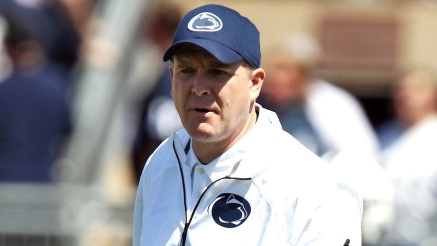 Apr 12, 2014; State College, PA, USA; Penn State Nittany Lions defensive coordinator/safeties coach Bob Shoop walks on the field during a warmup prior to the Blue White spring game at Beaver Stadium. The Blue team defeated the White team 37-0. Mandatory Credit: Matthew O'Haren-USA TODAY Sports