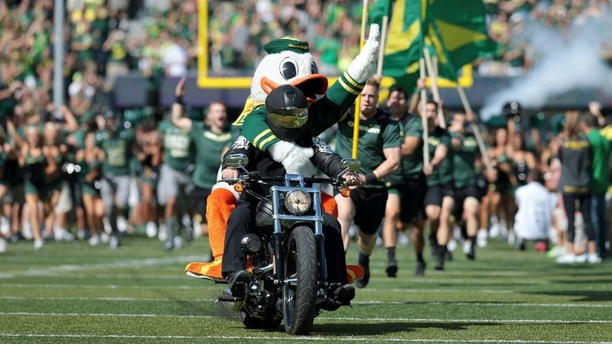 Sep 13, 2014; Eugene, OR, USA; Oregon Ducks mascot rides on the back of a motorcycle before the game Wyoming Cowboys at Autzen Stadium. Mandatory Credit: Scott Olmos-USA TODAY Sports