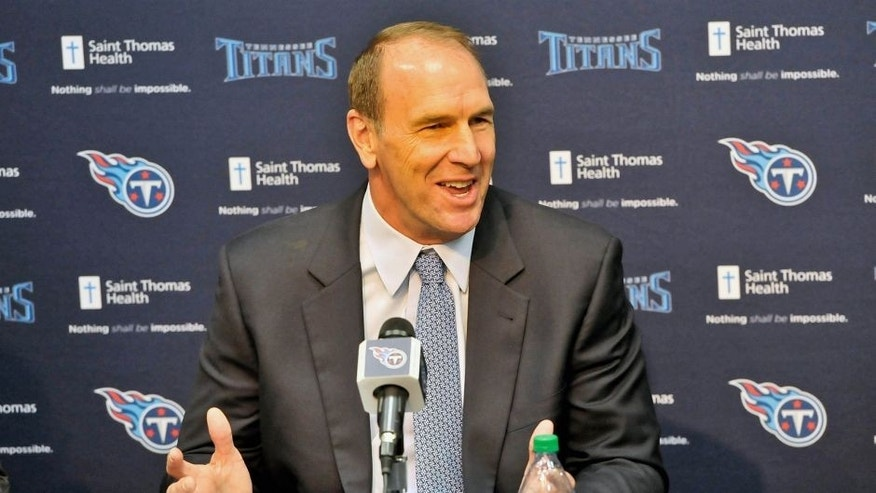 Jan 18, 2016; Nashville, Tennessee, USA; Tennessee Titans new head coach Mike Mularkey during a press conference at Saint Thomas Sports Park. Mandatory Credit: Jim Brown-USA TODAY Sports