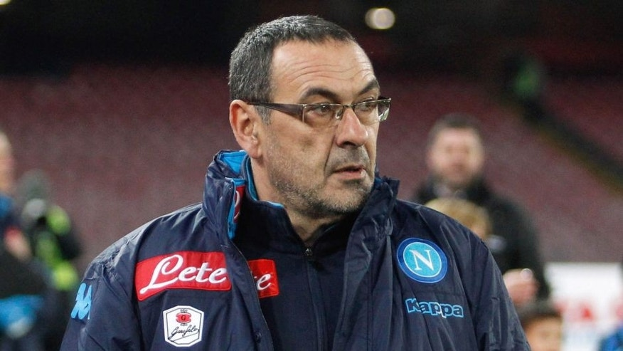 NAPLES, ITALY - JANUARY 19: Head coach of Napoli Maurizio Sarri during the TIM Cup match between SSC Napoli and FC Internazionale Milano at Stadio San Paolo on January 19, 2016 in Naples, Italy. (Photo by Maurizio Lagana/Getty Images)
