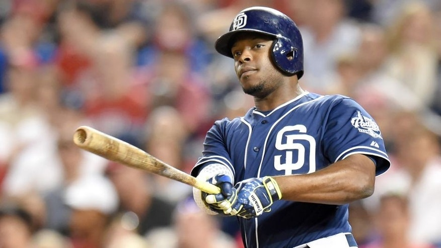 WASHINGTON, DC - AUGUST 26: Justin Upton #10 of the San Diego Padres takes a swing during a baseball game against the Washington Nationals at Nationals Park on August 26, 2015 in Washington, DC. The Padres won 6-5. (Photo by Mitchell Layton/Getty Images)