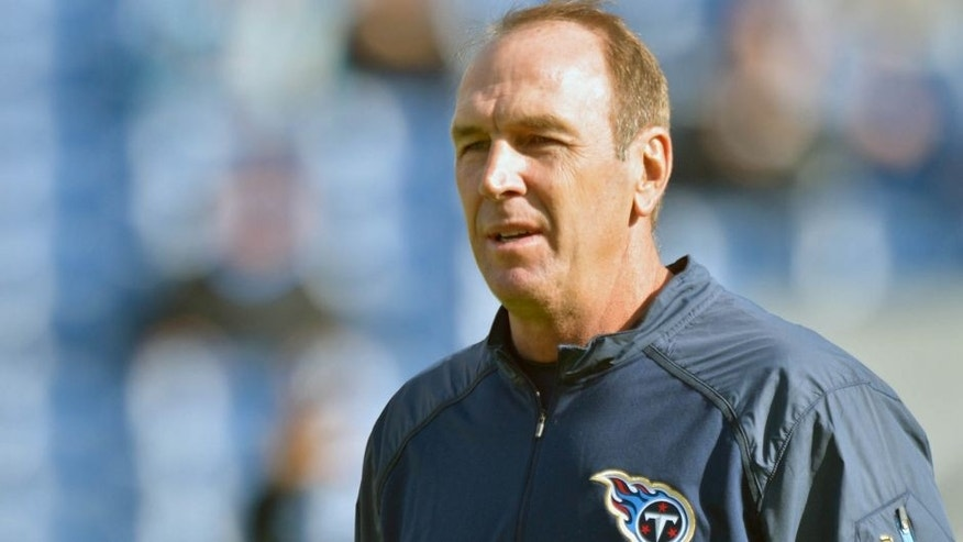 Dec 2, 2015; Nashville, TN, USA; Tennessee Titans interim head coach Mike Mularkey during warm ups prior to the game against the Jacksonville Jaguars at Memorial Gym. Mandatory Credit: Jim Brown-USA TODAY Sports