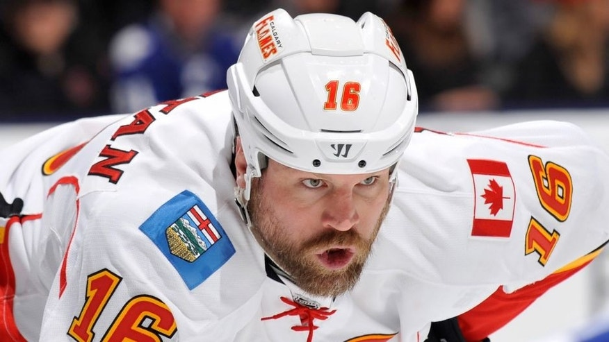 TORONTO, ON - APRIL 1: Brian McGrattan #16 of the Calgary Flames looks on during NHL game action against the Toronto Maple Leafs April 1, 2014 at the Air Canada Centre in Toronto, Ontario, Canada. (Photo by Graig Abel/NHLI via Getty Images)