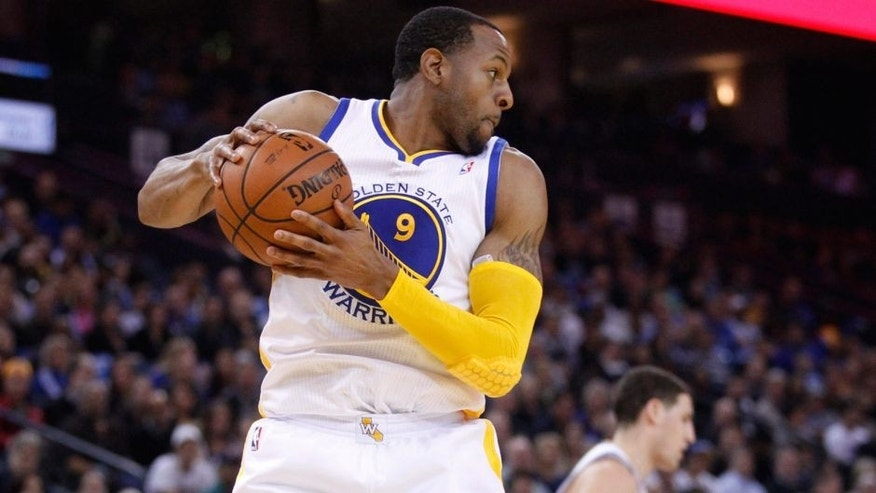 <p>Jan 24, 2014; Oakland, CA, USA; Golden State Warriors forward Andre Iguodala (9) holds onto a rebound against the Minnesota Timberwolves in the second quarter at Oracle Arena.</p>