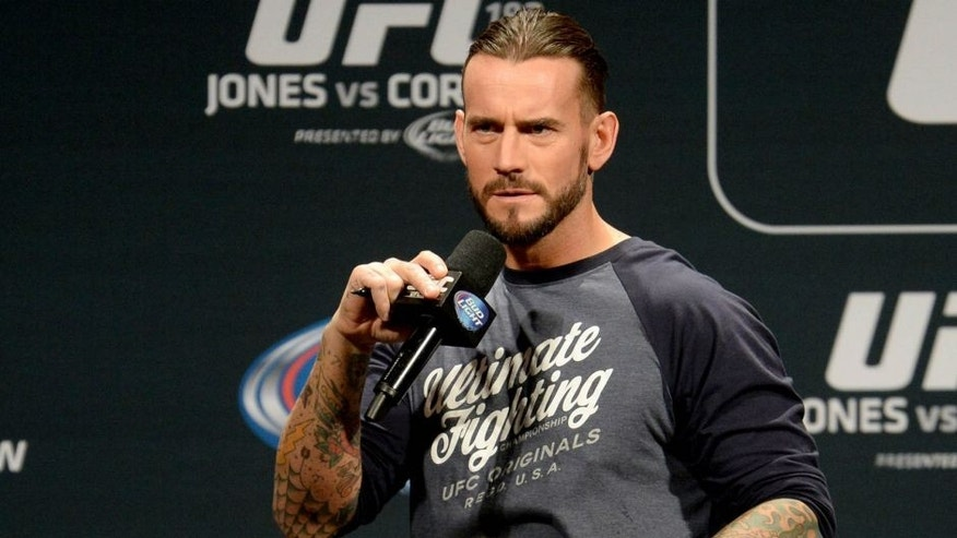 <p>Jan 2, 2015; Las Vegas, NV, USA; Former WWE star Phil CM Punk Brooks is the featured guest for the UFC 182 Q&A session Friday evening before the start of the weigh-ins at the MGM Grand Garden Arena. Mandatory Credit: Jayne Kamin-Oncea-USA TODAY Sports</p>