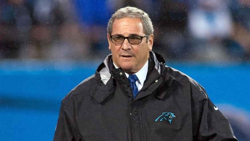 Nov 2, 2015; Charlotte, NC, USA; Carolina Panthers general manager Dave Gettleman walks the field prior to the game against the Indianapolis Colts at Bank of America Stadium. Mandatory Credit: Jeremy Brevard-USA TODAY Sports
