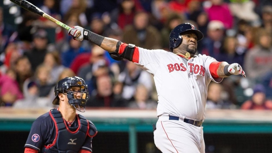 CLEVELAND, OH - OCTOBER 2: David Ortiz #34 of the Boston Red Sox hits a two run home run during the fourth inning against the Cleveland Indians at Progressive Field on October 2, 2015 in Cleveland, Ohio. (Photo by Jason Miller/Getty Images)