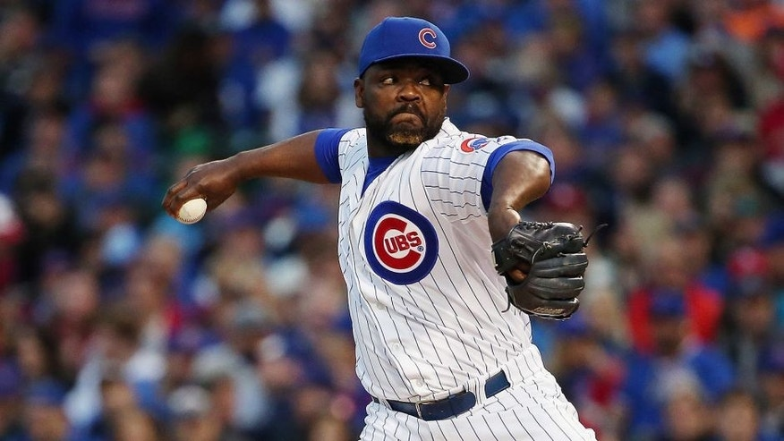 CHICAGO, IL - OCTOBER 13: Fernando Rodney #57 of the Chicago Cubs throws a pitch in the sixth inning against the St. Louis Cardinals during game four of the National League Division Series at Wrigley Field on October 13, 2015 in Chicago, Illinois. (Photo by Jonathan Daniel/Getty Images)