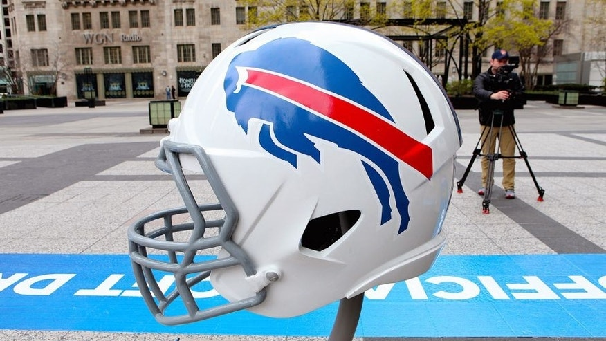 CHICAGO - APRIL 30: Buffalo Bills NFL football helmet is on display in Pioneer Court to commemorate the NFL Draft 2015 in Chicago on April 30, 2015 in Chicago, Illinois. (Photo By Raymond Boyd/Getty Images)