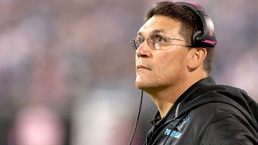 Oct 25, 2015; Charlotte, NC, USA; Carolina Panthers head coach Ron Rivera looks on during the second quarter against the Philadelphia Eagles at Bank of America Stadium. Mandatory Credit: Jeremy Brevard-USA TODAY Sports