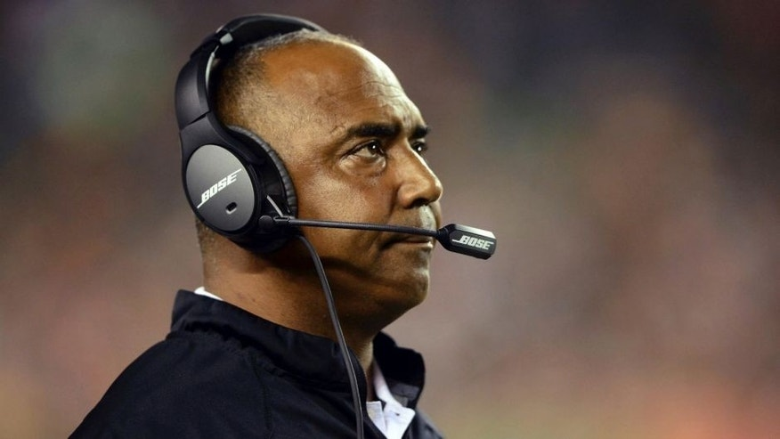 <p>Cincinnati Bengals head coach Marvin Lewis looks on from the sidelines during the third quarter against the New York Jets at Paul Brown Stadium.</p>