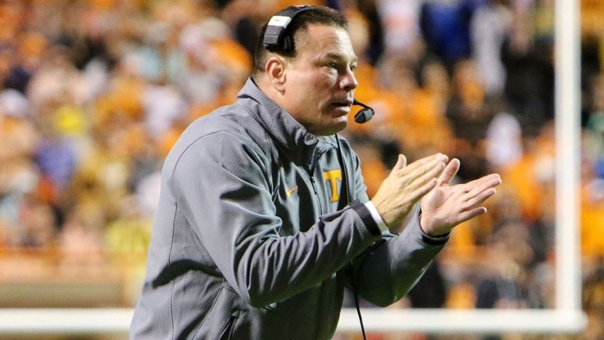 Oct 3, 2015; Knoxville, TN, USA; Tennessee Volunteers head coach Butch Jones during the first quarter against the Arkansas Razorbacks at Neyland Stadium. Mandatory Credit: Randy Sartin-USA TODAY Sports
