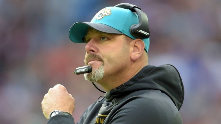Oct 25, 2015; London, United Kingdom; Jacksonville Jaguars defensive line coach Todd Wash reacts during 34-31 victory against the Buffalo Bills during NFL International Series game at Wembley Stadium. Mandatory Credit: Kirby Lee-USA TODAY Sports
