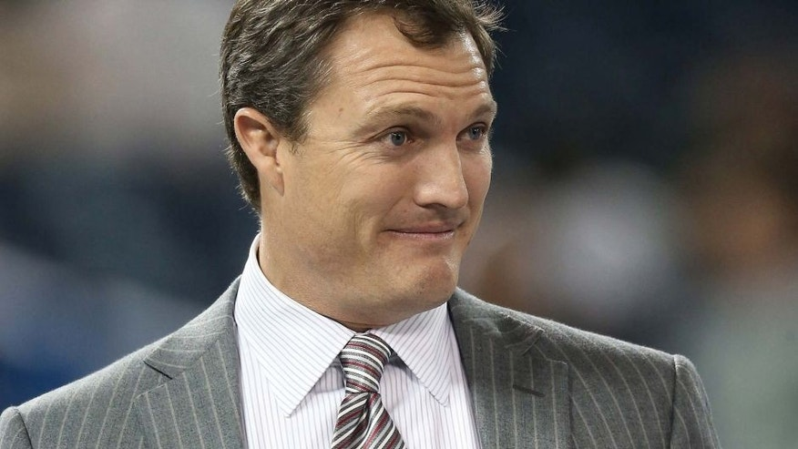 TORONTO, ON - DECEMBER 16: TV color commentator and former player John Lynch before the Seattle Seahawks NFL game against the Buffalo Bills at Rogers Centre on December 16, 2012 in Toronto, Canada. (Photo by Tom Szczerbowski/Getty Images)