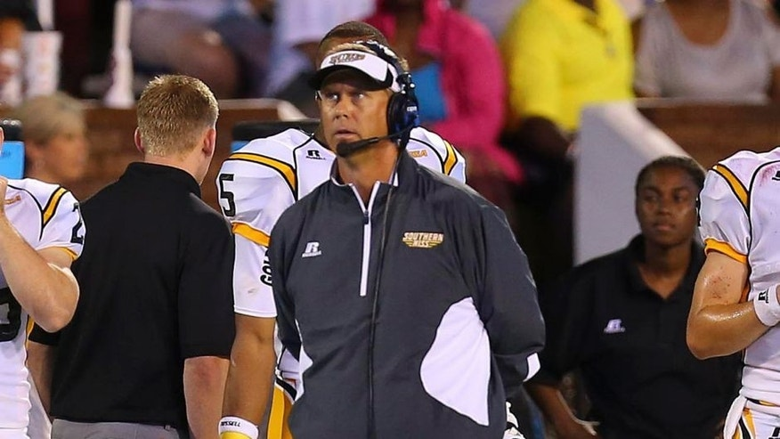 Aug 30, 2014; Starkville, MS, USA; Southern Miss Golden Eagles head coach Todd Monken during the game against the Mississippi State Bulldogs at Davis Wade Stadium. Mandatory Credit: Spruce Derden-USA TODAY Sports
