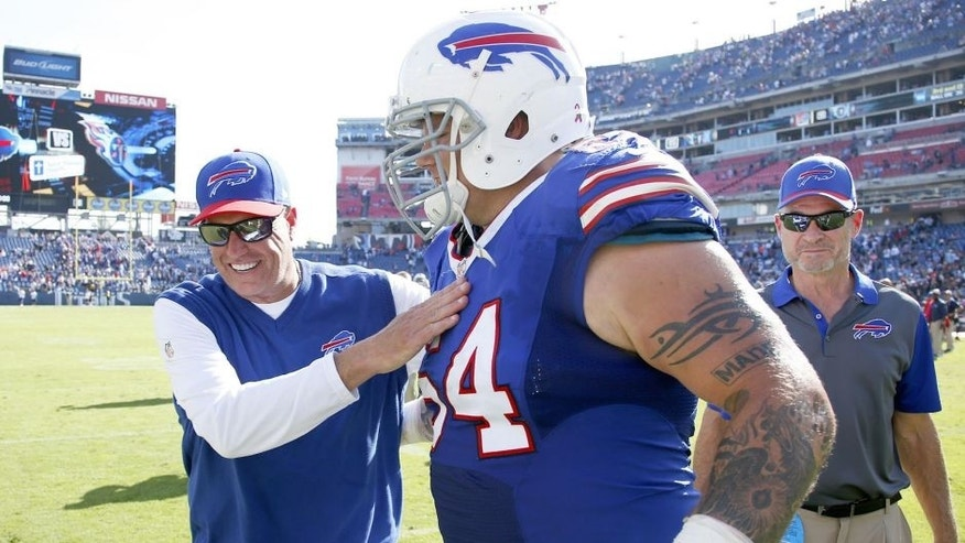 NASHVILLE, TN - OCTOBER 11: Head coach Rex Ryan of the Buffalo Bills celebrates with Richie Incognito #64 after the game against the Tennessee Titans at Nissan Stadium on October 11, 2015 in Nashville, Tennessee. The Bills defeated the Titans 14-13. (Photo by Joe Robbins/Getty Images)