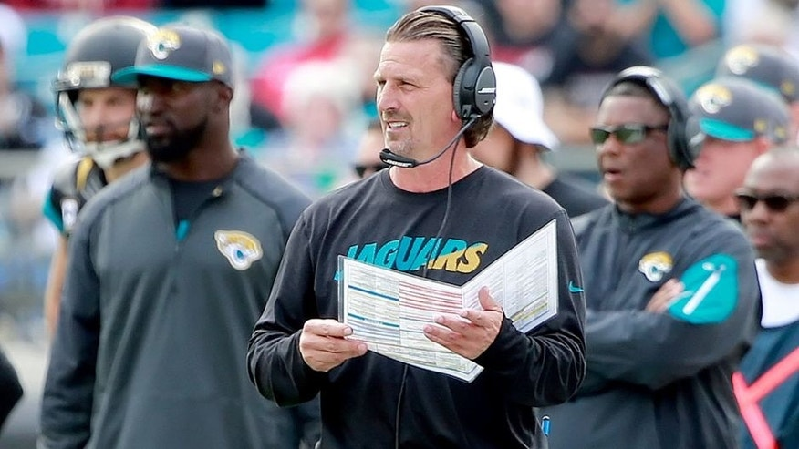Dec 20, 2015; Jacksonville, FL, USA; Jacksonville Jaguars offensive coordinator Greg Olson during the first half at EverBank Field. Mandatory Credit: Kim Klement-USA TODAY Sports