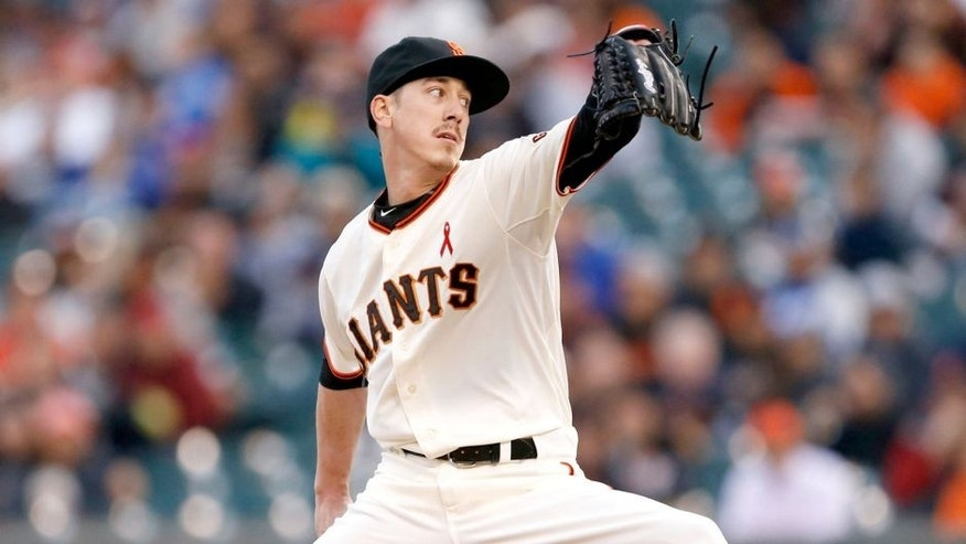 May 20, 2015; San Francisco, CA, USA; San Francisco Giants starting pitcher Tim Lincecum (55) pitches during the first inning against the Los Angeles Dodgers at AT&T Park. Mandatory Credit: Bob Stanton-USA TODAY Sports