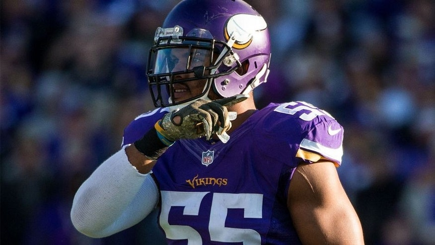 Nov 8, 2015; Minneapolis, MN, USA; Minnesota Vikings linebacker Anthony Barr (55) against the St. Louis Rams at TCF Bank Stadium. The Vikings defeated the Rams 21-18. Mandatory Credit: Brace Hemmelgarn-USA TODAY Sports