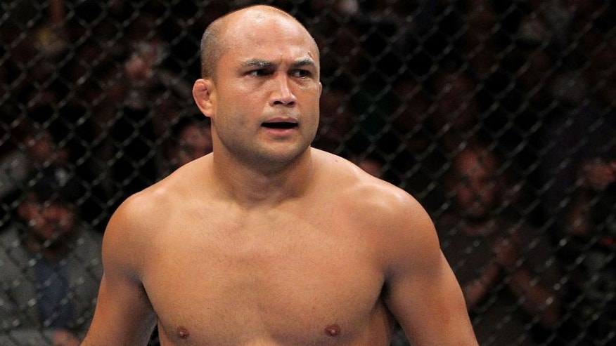 AUBURN HILLAS, MI - NOVEMBER 20: BJ Penn looks on as he fights Matt Hughes during their Welterweight bout part of UFC 123 at the Palace of Auburn Hills on November 20, 2010 in Auburn Hills, Michigan. (Photo by Josh Hedges/Zuffa LLC/Zuffa LLC via Getty Images) *** Local Caption *** BJ Penn