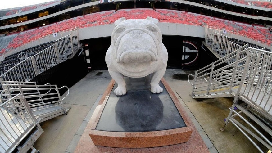 Sep 5, 2015; Athens, GA, USA; The statue of the Bulldog sits near the end zone prior to the game between the Louisiana Monroe Warhawks and the Georgia Bulldogs at Sanford Stadium. Mandatory Credit: Dale Zanine-USA TODAY Sports