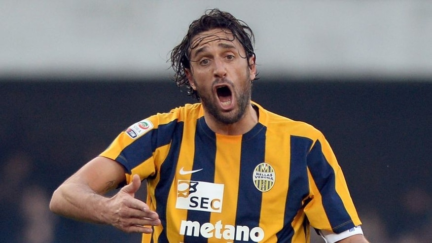 VERONA, ITALY - DECEMBER 20: Luca Toni of Hellas Verona reacts during the Serie A match between Hellas Verona FC and US Sassuolo Calcio at Stadio Marc'Antonio Bentegodi on December 20, 2015 in Verona, Italy. (Photo by Dino Panato/Getty Images)