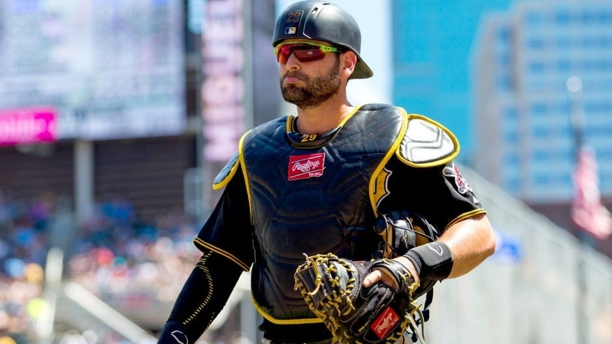 Jul 29, 2015; Minneapolis, MN, USA; Pittsburgh Pirates catcher Francisco Cervelli (29) walks back to the dugout in the fifth inning against the Minnesota Twins at Target Field. Mandatory Credit: Brad Rempel-USA TODAY Sports