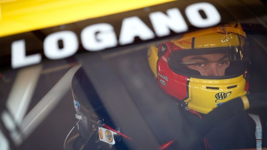 JOLIET, IL - SEPTEMBER 14: Joey Logano, driver of the #22 Shell-Pennzoil Ford, during practice for the NASCAR Sprint Cup Series Geico 400 at Chicagoland Speedway on September 14, 2013 in Joliet, Illinois. (Photo by Jeff Zelevansky/NASCAR via Getty Images) *** Local Caption *** Joey Logano