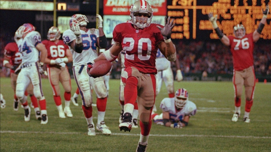 Dec. 3, 2016: San Francisco 49ers Derek Loville prances into the end zone for a touchdown in the fourth quarter against the Buffalo Bills in San Francisco. (AP Photo/Lacy Atkins)
